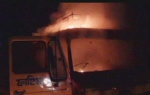 netrakona truck ablazed