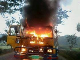 truck ablazes during BNP strike at Juri of Moulvibazar