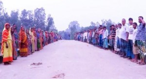 human chain demands stop of sand lifting in sherpur